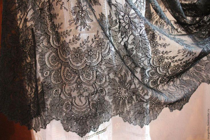 Купить Кружево Шантильи - черный, кружево, шантильи, Франция, французский стиль, винтаж, для одежды