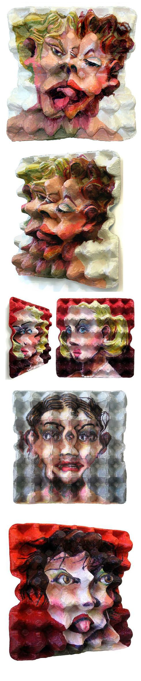 Egg container cubism: Portraits done on egg packaging, perspective changes when viewed from different angles