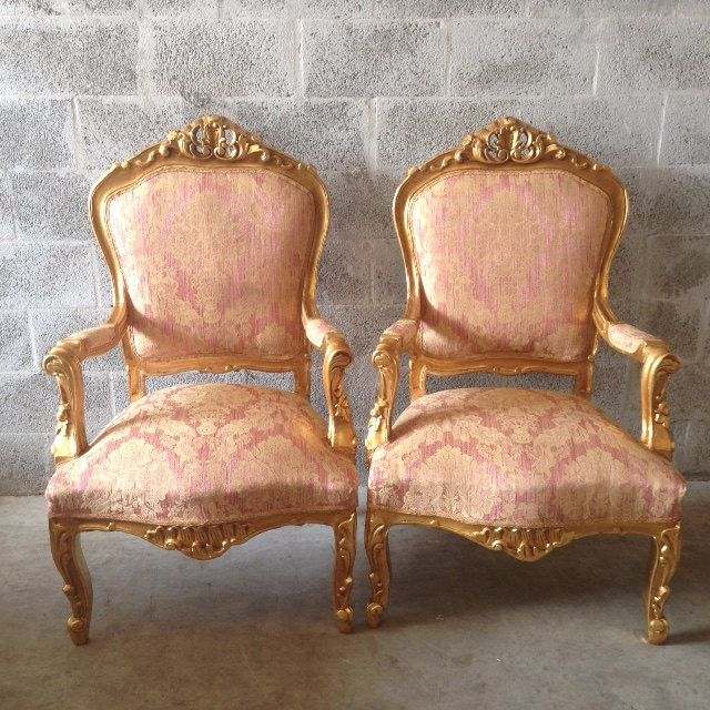 Antique Louis XVI 5 Piece Living Room Chair Fauteuil Settee Sofa Couch Gold  Leaf Reupholster Light Part 96