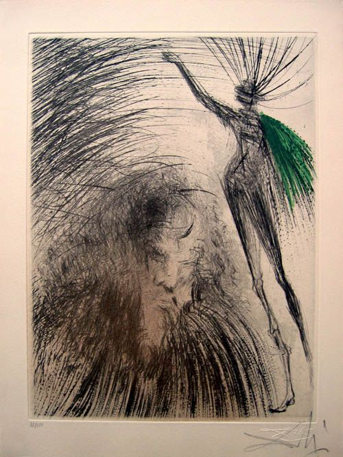 Salvador Dali - Faust suite - Le Vieux Faust (Old Faust) - 1968/1969 Signed Etching