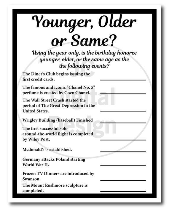 1939 Birthday Trivia Game 1939, Birthday Parties, Instant