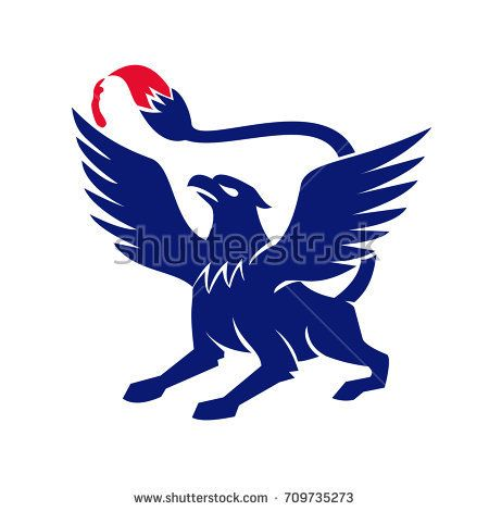 Icon style illustration of Griffin ,griffon, or gryphon with Paintbrush tail viewed from side on isolated background.  #griffin #icon #illustration