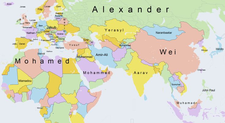 This fascinating map shows the most popular boys' names around the world - Vox