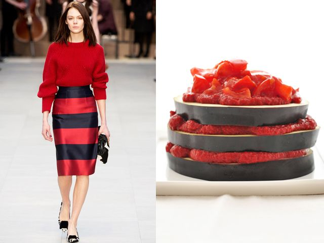 Burberry Prorsum fw 2013-14 / Eggplant, peppers and italian hot red sauce