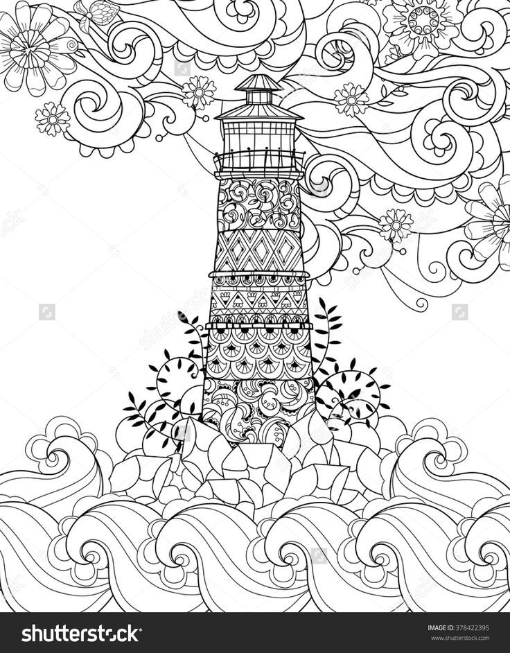 Hand Drawn Doodle Outline Lighthouse Decorated With Floral Ornaments.Vector Zentangle Illustration.Floral Ornament.Sketch For Tattoo, Poster Or Coloring Pages.Boho Style. - 378422395 : Shutterstock