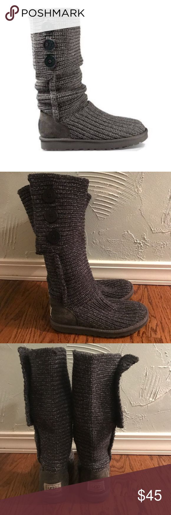 UGG Classic Cardy Grey Knit Boots 3 Button detail! In good used condition lots of life left! UGG Shoes Winter & Rain Boots