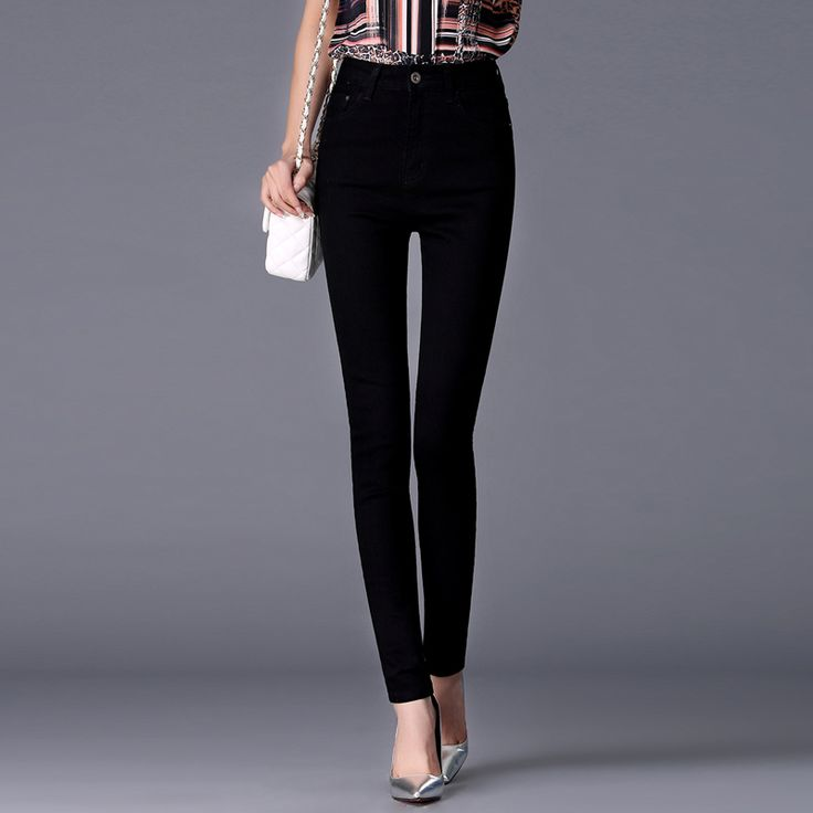 Jeans for women jeans with high waist trousers for women tight black jeans zipper jeans black female skinny pencil pants 9769