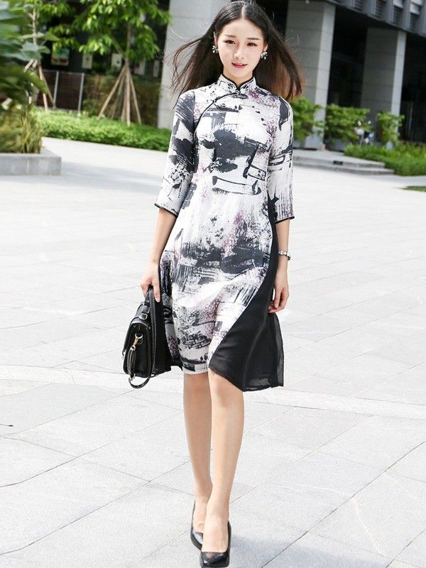With You Contrast Painted Qipao / Cheongsam with Half Sleeves
