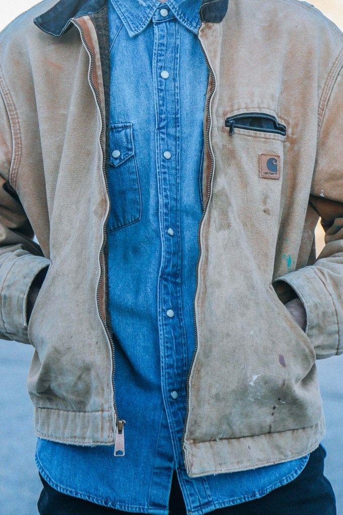 dl961 denim, men's style, black slim fit jeans, french connection leather boots, levi's denim shirt, carhartt jacket