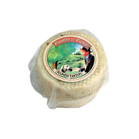Pecorino al tartufo  Il nostro prodotto nasce dall'unione di buon latte di pecora e del tartufo. Disponibile in confezioni sottovuoto da 700gr circa. Da conservare in frigo.