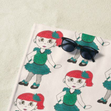Personalized Tap Dance Class Redhead Freckles Girl Beach Towel - girl gifts special unique diy gift idea