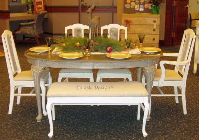 Vintage French Dining Table and chair set refinished in Annie Sloan French Linen and Old White $550