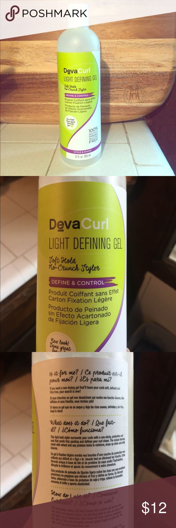 DevaCurl Light Defining Gel DevaCurl Light Defining Gel. Soft hold, no-crunch styler. I'm a proud curly girl and I love the DevaCurl brand but I currently have too many styling products and this is one that I don't use as often. It's a wonderful product to get defined curls without the crunchy look. There is a picture above of how much I used. devacurl Other