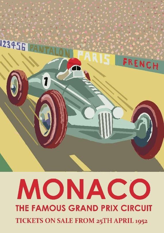 1952 Formula 1 Monaco Grand Prix Vintage Auto Racing Poster Etsy Auto Racing Posters Racing Posters Retro Wall Art