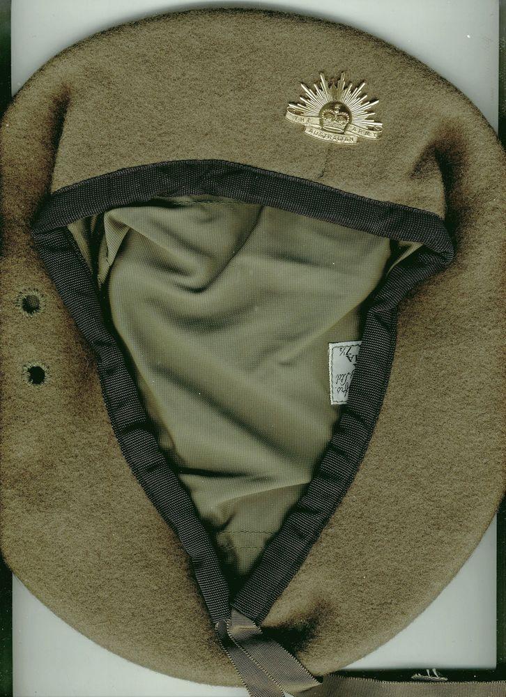 MILITARY AUSTRALIA  UNIFORM ARMY BERET  CAP WITH  RISING SUN BADGE 1974