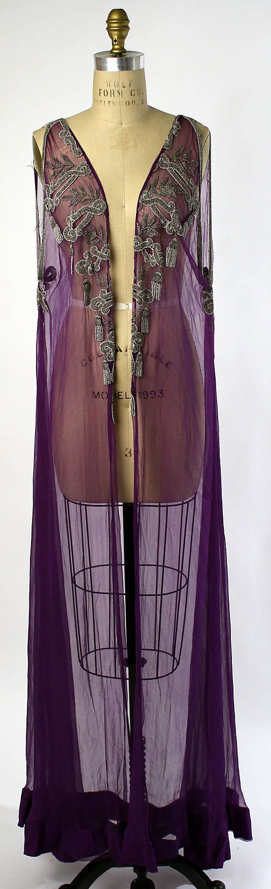 Negligée, 1918..........wowwww: Long Black Dresses, Historical Clothing, Vintage Fashion Art Deco, Historical Fashion, Beads Embroidery, Contemporary Embroidery, Metropolitan Museums, Circa 1918, Vintage Clothing
