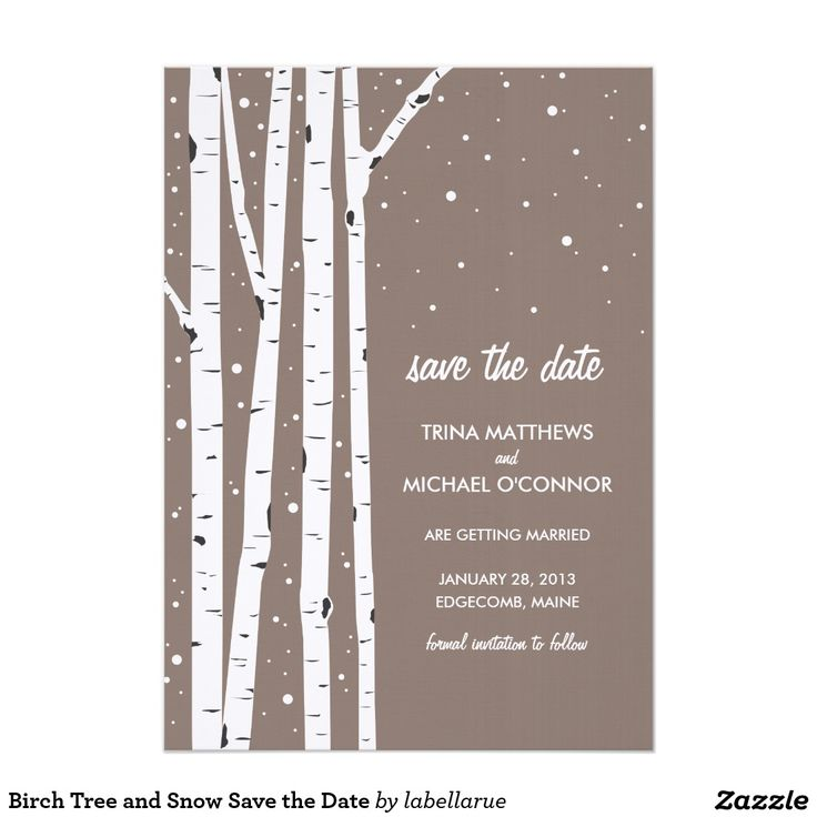 Birch Tree and Snow Save the Date