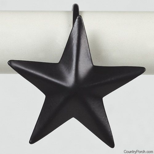Black Star Metal Shower Curtain Hooks | wish list | Pinterest