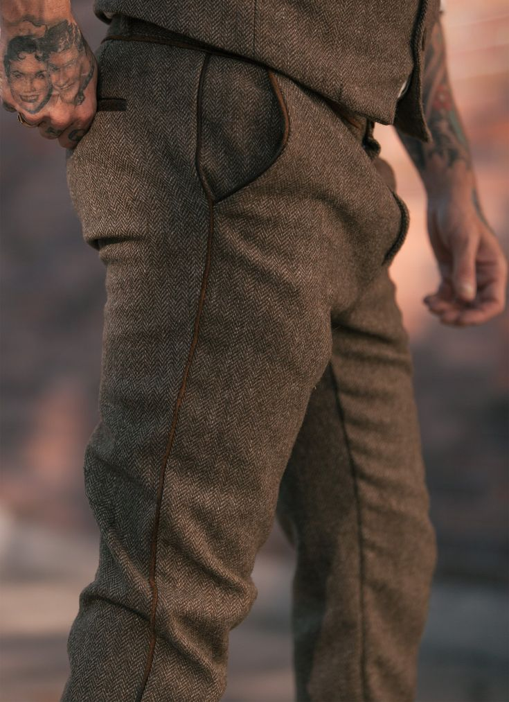 Fairfax Tweed Leather Piped Pant. Dapper Menswear made in America. www.sheehanandcompany.com