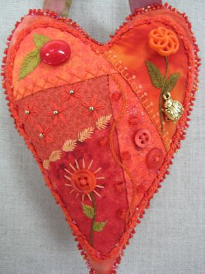 crazy patch heart #pincushion