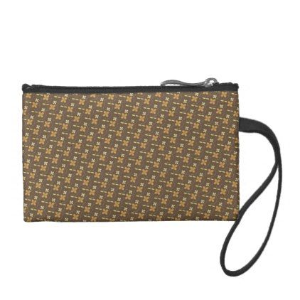 Brown golden flowers pattern change purse - accessories accessory gift idea stylish unique custom
