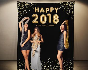 New Years Eve Photo Booth Backdrop, New Year Party Decorations, Black and Gold , Happy New Year Banner, 2018 NYE Balloons Decor, DIY Ideas