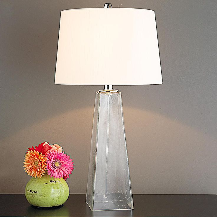 Seeded glass pyramid table lamp