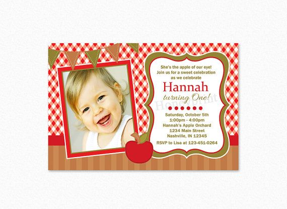 Apple Birthday Party Invitation Apple Orchard Apple by Honeyprint