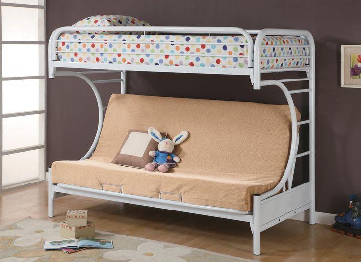 Fordham Twin Futon Metal Bunk Bed White - bunk bed world