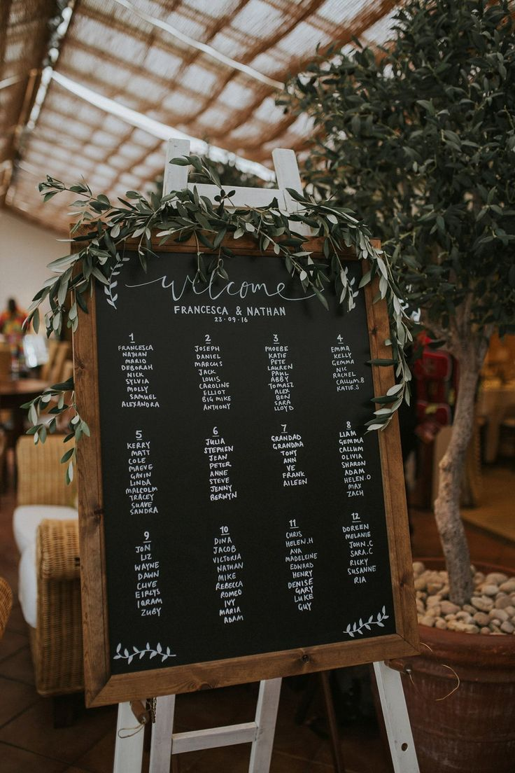 Welcome table plan sign with olive foliage -  A Laure de Sagazan Gown for a Botanical and Bohemian Inspired Wedding