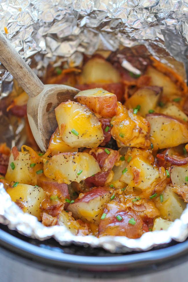 Slow Cooker Cheesy Bacon Ranch Potatoes ~ The easiest potatoes you can make right in the slow-cooker - perfectly tender, flavorful and cheesy!