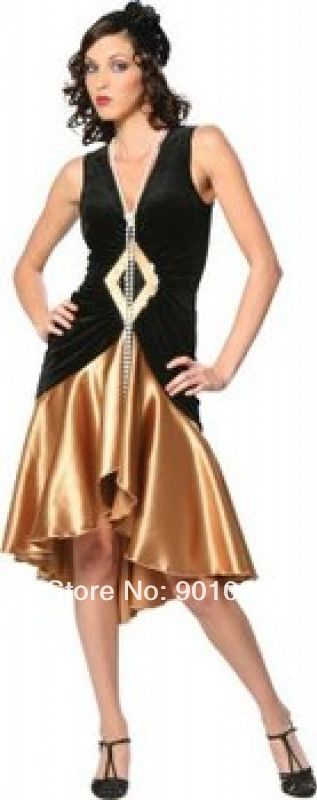 FREE SHIPPING 1920s Flapper 20s Chicago Fancy Dress Costume + Necklace
