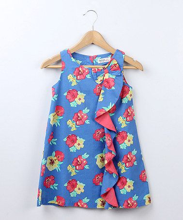 Take a look at this Navy Floral Ruffle Swing Dress - Girls by Bee-Young on #zulily today!