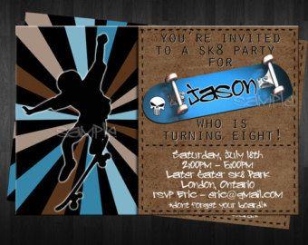 skateboarding party invitation | SKATEBOARD Birthday Invitation Cust om Digital File DIY Skate Board ...