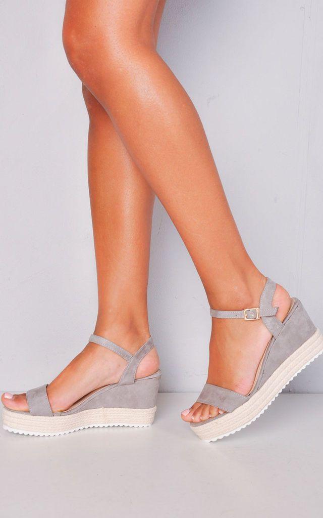 9a8b7768a32 Faux Suede Platform Braided Cork Wedge Espadrille Sandals Grey. Faux Suede  Platform Braided Cork Wedge Espadrille Sandals Grey by LILY LULU FASHION