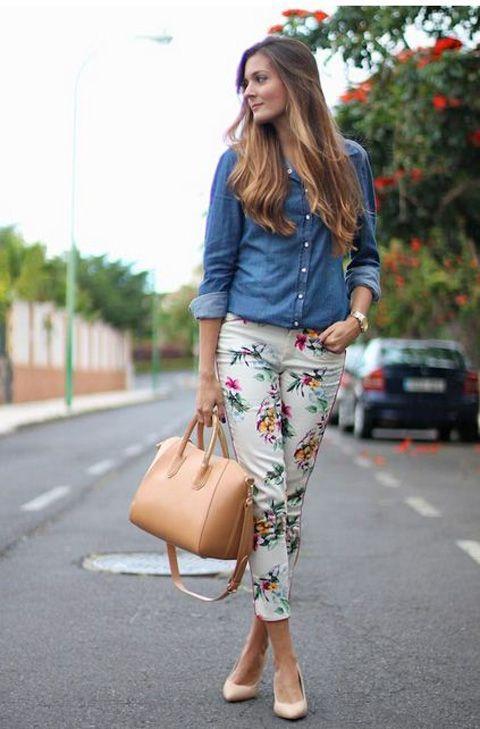 camisa jeans+ Calça floral!