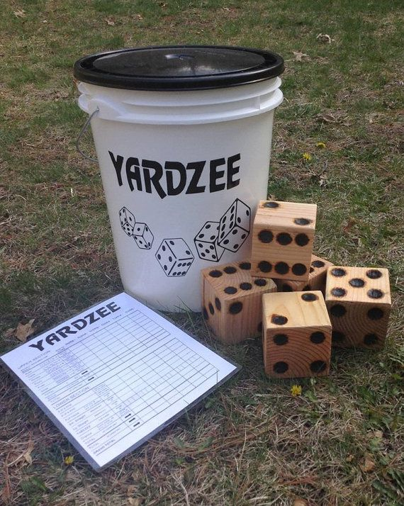 This life-size yahtzee games is fun for all ages and perfect for camping, parties, barbecues, or outdoor weddings! Each yardzee set includes: - 1 white 5 gallon bucket with black vinyl decal - 5 natural wood dice measuring 3.5 x 3.5 x 3.5 - 1 laminated multiplayer scorecard and instructions - 1 dry erase marker. The dice are sanded and shaped like real dice, not just cut blocks! Holes for the dice are wood-burned and sealed with a spar urathane for longevity. Due to the nature of the wood…