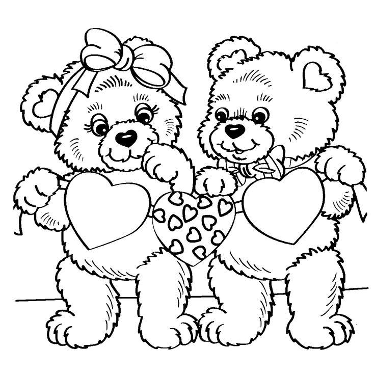 twee beertjes met hartjes kleurplaten dieren