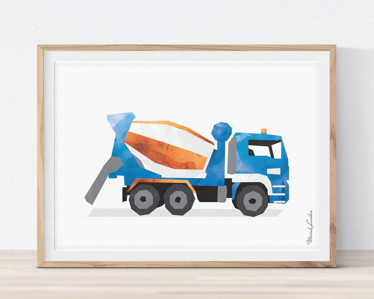 Cement Mixer Truck, Concrete Mixer Print, Cement Truck Print, Construction Wall Art, Transportation Decor, Big Boy Room Decor by MORILAND on Etsy