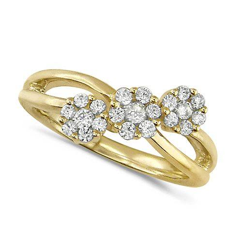 House of Williams 18ct Yellow Gold Ladies Half Carat Triple Cluster Diamond Ring