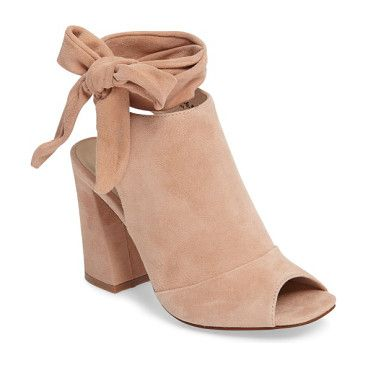 leeds peep toe bootie by Kristin Cavallari. Soft suede and a high vamp define this cool-weather transition bootie outfitted with a squared peep toe and wraparoun...