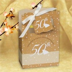 50th Anniversary - Classic Personalized Wedding Anniversary Favor Boxes