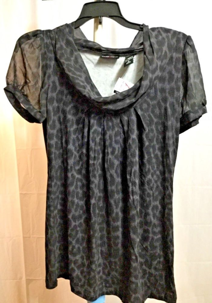 191874eb2b488 New York & Company Womens Short Sleeve Boat Neck Leopard Shirt Size S NWT  #NewYorkCompany #Shirt
