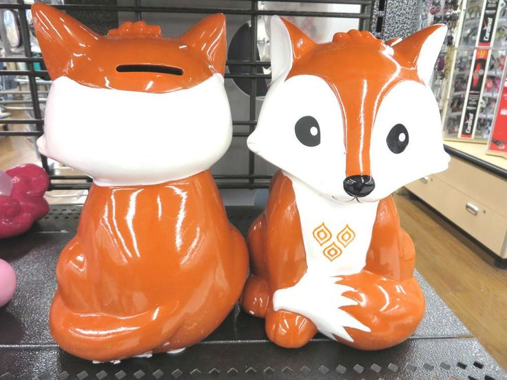 Cute Little Fox Piggy Bank Savings Coins Pennies Ceramic