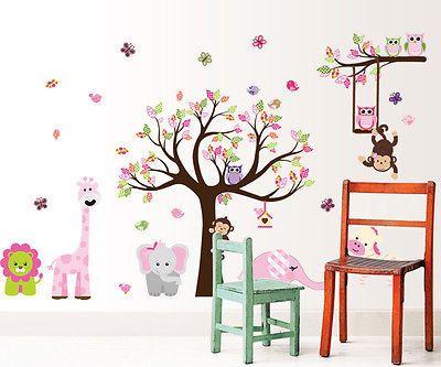 Epic Details zu w Wandtattoo Kinderzimmer Baum Eule Tiere Wald XXXL cm x cm M dchen