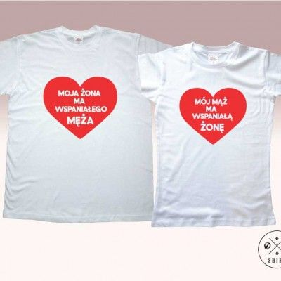 Koszulki dla pary.  Prezent na walentynki! Valentines gift for couple. Moja żona ma wspaniałego męza/ Mój mąż ma wspaniałą żonę DDshirt!