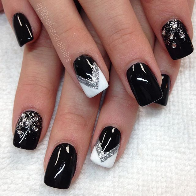 """""""Something about sparkles and black, makes for a delightfully pleasing feeling ☺️"""" Photo taken by @professionalnailss on Instagram, pinned via the InstaPin iOS App! http://www.instapinapp.com (11/23/2015)"""