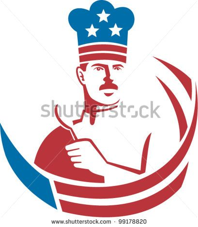 Illustration of an American chef baker cook holding spatula facing front with stars and stripes done in retro style. #chef #laborday #retro #illustration