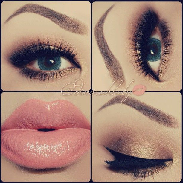 ♥: Hair Beautiful, Make Up, Eye Makeup, Cat Eye, Eyebrowsmakeup Lipsticks, Pink Lips, Hair Makeup, Makeup Looks, Green Eye