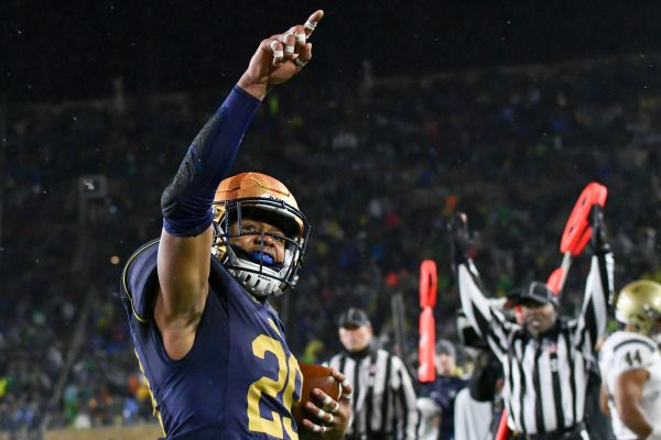 Nov 18, 2017; South Bend, IN, USA; Notre Dame Fighting Irish wide receiver Kevin Stepherson (29) celebrates after scoring a touchdown in the fourth quarter against the Navy Midshipmen at Notre Dame Stadium. Mandatory Credit: Matt Cashore-USA TODAY Sports